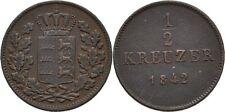 1/2 Kreuzer 1842 Württemberg Wilhelm I.,1816-1864, Löwe #FTC303