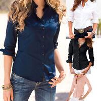 Womens Fashion Elegant Long Office Work Sleeve Blouse Ladies OL Shirts Suit Tops