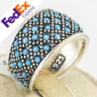 925 Sterling Silver Turquoise Stone Turkish Handmade Luxury Lady's Ring All Size