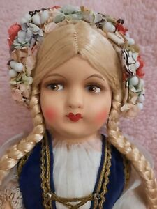 BEAUTIFUL LARGE 19in 1930s ANTIQUE  PIN JOINTED  DOLL WITH PAPER MACHE HEAD