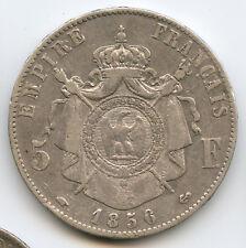 Napoleon III (1852-1870) 5 Francs Tête nue 1856 A Paris