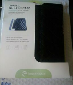 "iEsentials Black Universal Quilted Case Magnetic Front For All 9-10"" Tablets-New"