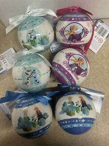Elsa Anna Olaf Frozen Shatterproof Baubles Christmas Tree Decorations-6pack