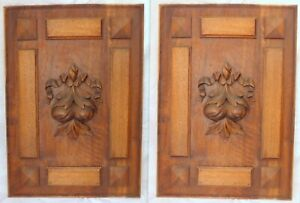 """23"""" Antique French Carved Wood Panel Gothic PAIR Fruits Salvage + Ribbons Bow"""