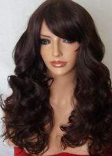 Curly Black Plum Red Long Women Ladies party adult Halloween costume Wig M19
