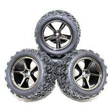 Traxxas E-Revo 1/16 4 Talon Tires Rims Black Chrome Wheels 12mm Set