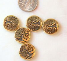 Tree of Life Beads, 15mm, TierraCast, Double Sided, Gold Plated, 4 Pieces, 2426