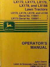 John Deere Lx172 Lx173 Lx176 Lx178 Lx188 Lawn Tractor Owners Manual s/n 110001-