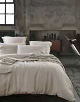 Pure French Linen Duvet Set Quilt Cover Set 3pcs - Natural Queen Size
