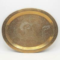 Vintage Brass Trinket Tray Etched Chinese Dragon Design Oval Dish