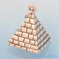 Pyramid Egyptian Egypt 3D 925 Sterling Silver Charm Pendant MADE IN USA