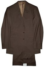 $6400 NEW BRIONI BROWN w GRAY STRIPES SUPER 180'S WOOL SUIT EU 52 42R 42 R
