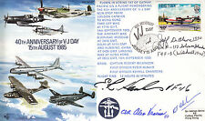 AC20 raf couverture signé colonel DeBlanc, cdr shaman & lt hanks WW2 vj day cover