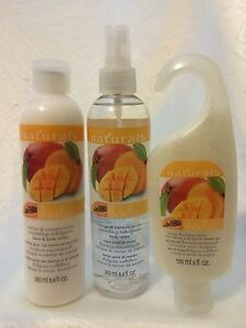 AVON Naturals 'Mango & Papaya Nectar' Body Lotion, Spray, & Shower Gel - NEW!!