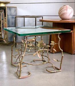 Vintage Italian Bird & Branch Brass End Table Willy Daro Era