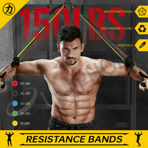 【150LBs】12Pcs Set Resistance Bands Elastic Tubes Home Gym Fitness Heavy Duty