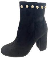 Koi Ladies Black Zip Ankle Boot Block Heel Faux Suede Beads Sale Chelsea  Boots