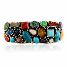 $2890Tag Certified Silver Navajo Multicolor Turquoise, Coral, Lapis Cuff Bracel
