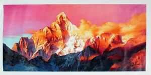 Magnificent Mountains Oil Painting (print) - 41 x 100cm