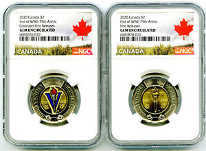 2020 $2 CANADA NGC GEM UNC TOONIE V75 VE-DAY TWO DOLLAR MATCHED 2-COIN SET - FR