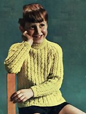 """Children's jumper, DK,knitting pattern, Cable, 24""""30""""  chest. Sweater, Pullover."""