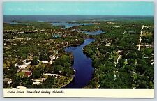 Aerial View of New Port Richey, Florida Street Cotee River Chrome Postcard