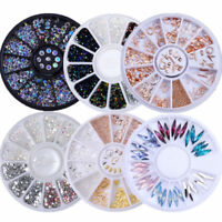 3D Nail Art Rhinestones Decoration Wheel  Glitters Beads Studs DIY Tips