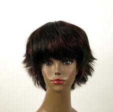 perruque femme afro 100% cheveux naturel méchée noir/rouge SHARONA 04/1b410