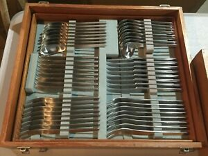 RARE ORIGINAL FLATWARE SET in BOX MICHELSEN JACOBSEN DENMARK STAINLESS STEEL AJ