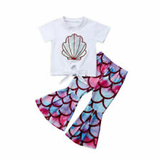 Toddler Kids Baby Girl Summer Clothes Mermaid Tops T-Shirt Flared Pants Outfits