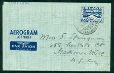 ICELAND Aerogram #3, 150aur, 1951, used to U.S., VF, Facit $75.00
