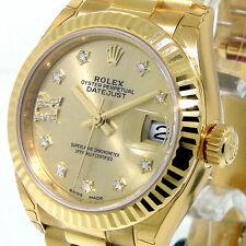 UNWORN ROLEX 279178 PRESIDENTIAL YELLOW GOLD PRESIDENT 28 mm CHAMPAGNE DIAMOND