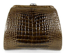 BENNIS EDWARDS Brown Shiny Crocodile Skin Hematite Clasp Clutch Bag