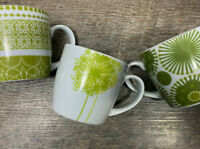 Set of 3 Now Designs Coffee Mugs Cups White with Green and Yellow Floral