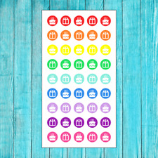 45 COLORFUL BIRTHDAY REMINDER STICKERS FOR ERIN CONDREN PLANNER OR CALENDAR