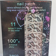 16 White Nail Patch Foils with Black & Silver Animal Print Design