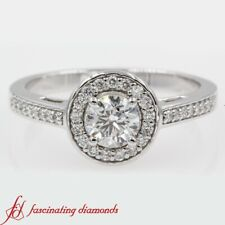 One Carat Round Cut Diamond Cathedral Halo Engagement Ring Pave And Bezel Set