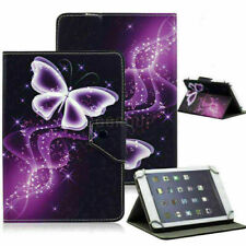 """US For 7"""" Tab Android Tablet Universal Leather Purple Butterfly Print Case Cover"""