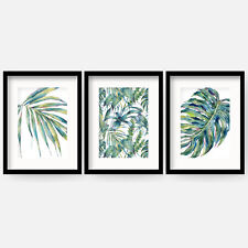 Set of 3 BOTANICAL watercolour TROPICAL Plant Wall Art Framed / Prints pictures