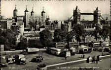 England Great Britain Postcard LONDON 1962 Bus, Auto, Car Cars on Tower Bridge