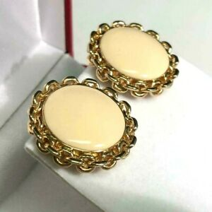 "St. John Knits Round Chain Design Vanilla White Enamel Clip On Earring Gold 1"""