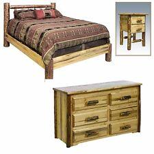 Log Bedroom Set KING Platform BED DRESSER NIGHTSTAND Set Amish Made Furniture