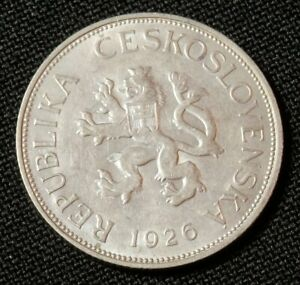 CZECHOSLOVAKIA 1926, HI GRADE VINTAGE CIRC COIN, 5 KORUN 1926 KM10 WORLD FOREIGN