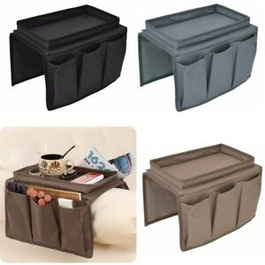 Sofa Chair Armrest Organiser Couch TV Remote Control Food Holder Tray 4 Pockets
