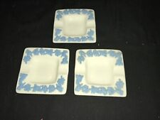 """Wedgwood Queensware Lavender on Cream Square Ashtrays 3-3/8"""" Group of 3"""