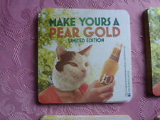 "40   J2O "" PEAR GOLD "" 2 FLAVOURS   COASTERS. NEW ( WITH CAT HEAD )( WHITE 3 )"