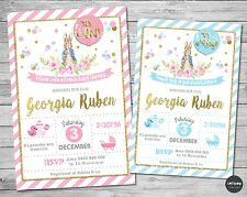 PETER RABBIT BABY SHOWER PERSONALISED INVITATION INVITE CARD PINK GOLD GIRL BOY