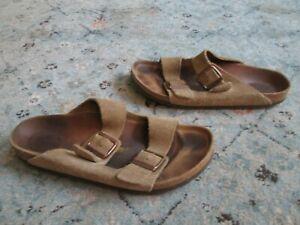 Birkenstock Arizona Soft Bed Suede Men Sandals Taupe Sz 43/10