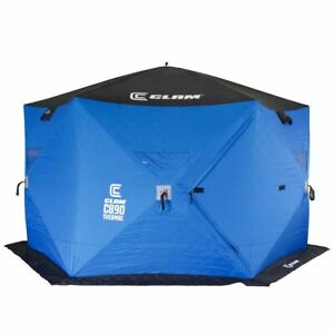 CLAM C-890 Portable 11.5 Ft 6 Person Pop Up Ice Fishing Thermal Hub Shelter Tent