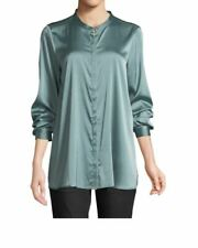 Eileen Fisher Elm Stretch Silk Charmeuse Mandarin Collar Shirt Tunic Top M, XL